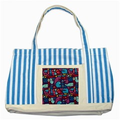 Hipster Pattern Animals And Tokyo Striped Blue Tote Bag