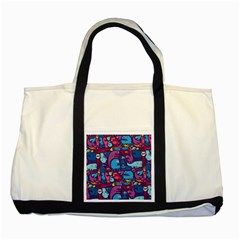 Hipster Pattern Animals And Tokyo Two Tone Tote Bag