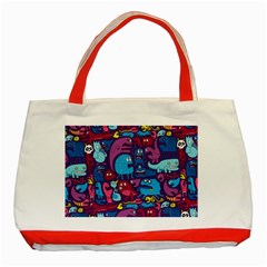 Hipster Pattern Animals And Tokyo Classic Tote Bag (red)