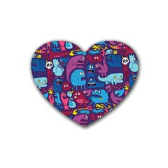 Hipster Pattern Animals And Tokyo Rubber Coaster (heart)
