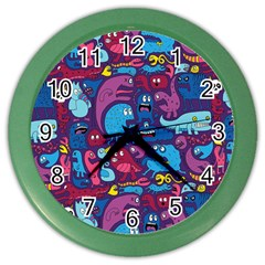 Hipster Pattern Animals And Tokyo Color Wall Clocks
