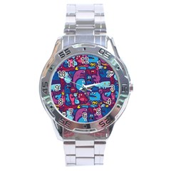 Hipster Pattern Animals And Tokyo Stainless Steel Analogue Watch