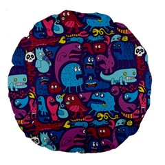 Hipster Pattern Animals And Tokyo Large 18  Premium Round Cushions