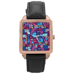 Hipster Pattern Animals And Tokyo Rose Gold Leather Watch