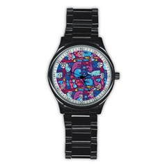 Hipster Pattern Animals And Tokyo Stainless Steel Round Watch