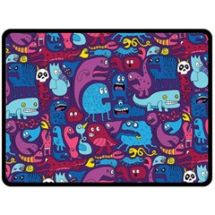 Hipster Pattern Animals And Tokyo Double Sided Fleece Blanket (Large)