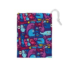 Hipster Pattern Animals And Tokyo Drawstring Pouches (medium)