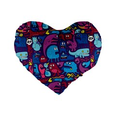 Hipster Pattern Animals And Tokyo Standard 16  Premium Flano Heart Shape Cushions