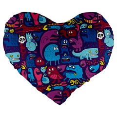 Hipster Pattern Animals And Tokyo Large 19  Premium Flano Heart Shape Cushions