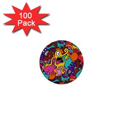 Monster Patterns 1  Mini Buttons (100 Pack)