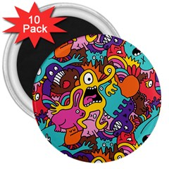 Monster Patterns 3  Magnets (10 Pack)