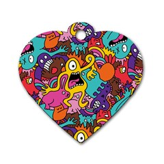Monster Patterns Dog Tag Heart (Two Sides)