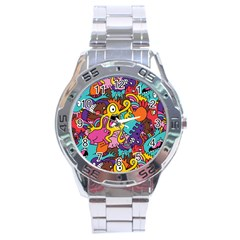 Monster Patterns Stainless Steel Analogue Watch