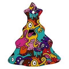 Monster Patterns Christmas Tree Ornament (Two Sides)