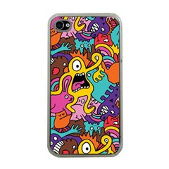 Monster Patterns Apple Iphone 4 Case (clear)