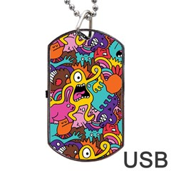 Monster Patterns Dog Tag USB Flash (Two Sides)