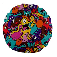 Monster Patterns Large 18  Premium Round Cushions