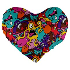 Monster Patterns Large 19  Premium Heart Shape Cushions