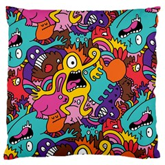 Monster Patterns Large Flano Cushion Case (two Sides)