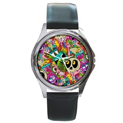 Crazy Illustrations & Funky Monster Pattern Round Metal Watch