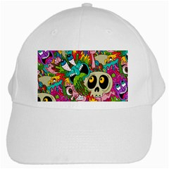 Crazy Illustrations & Funky Monster Pattern White Cap