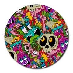 Crazy Illustrations & Funky Monster Pattern Round Mousepads