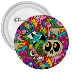 Crazy Illustrations & Funky Monster Pattern 3  Buttons