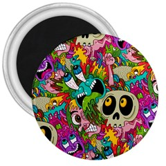 Crazy Illustrations & Funky Monster Pattern 3  Magnets