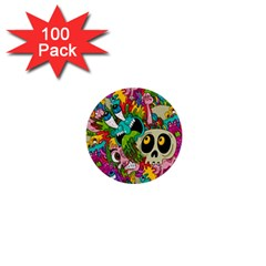 Crazy Illustrations & Funky Monster Pattern 1  Mini Buttons (100 Pack)
