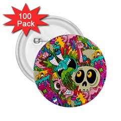 Crazy Illustrations & Funky Monster Pattern 2 25  Buttons (100 Pack)