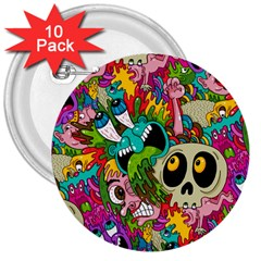 Crazy Illustrations & Funky Monster Pattern 3  Buttons (10 pack)