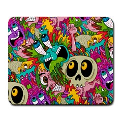 Crazy Illustrations & Funky Monster Pattern Large Mousepads