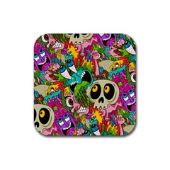 Crazy Illustrations & Funky Monster Pattern Rubber Square Coaster (4 Pack)