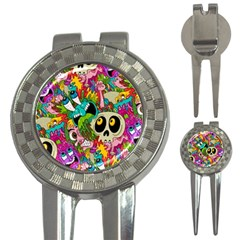 Crazy Illustrations & Funky Monster Pattern 3-in-1 Golf Divots