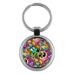 Crazy Illustrations & Funky Monster Pattern Key Chains (Round)