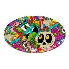 Crazy Illustrations & Funky Monster Pattern Oval Magnet