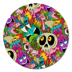 Crazy Illustrations & Funky Monster Pattern Magnet 5  (round)