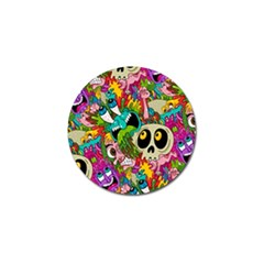Crazy Illustrations & Funky Monster Pattern Golf Ball Marker (4 Pack)