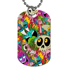 Crazy Illustrations & Funky Monster Pattern Dog Tag (Two Sides)