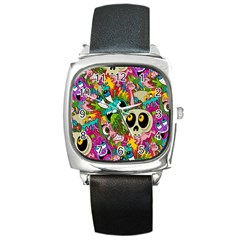 Crazy Illustrations & Funky Monster Pattern Square Metal Watch