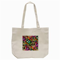 Crazy Illustrations & Funky Monster Pattern Tote Bag (Cream)