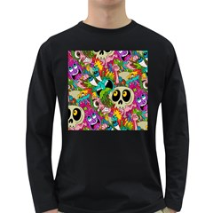 Crazy Illustrations & Funky Monster Pattern Long Sleeve Dark T-Shirts