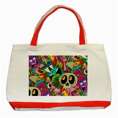 Crazy Illustrations & Funky Monster Pattern Classic Tote Bag (Red)