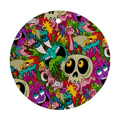 Crazy Illustrations & Funky Monster Pattern Round Ornament (Two Sides)