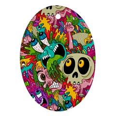 Crazy Illustrations & Funky Monster Pattern Oval Ornament (two Sides)