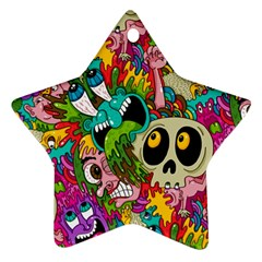 Crazy Illustrations & Funky Monster Pattern Star Ornament (two Sides)