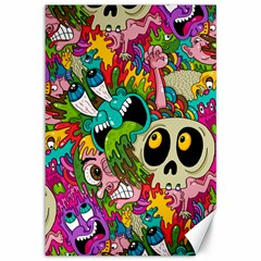 Crazy Illustrations & Funky Monster Pattern Canvas 12  x 18