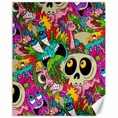 Crazy Illustrations & Funky Monster Pattern Canvas 16  x 20
