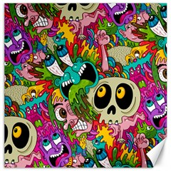 Crazy Illustrations & Funky Monster Pattern Canvas 20  X 20