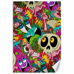 Crazy Illustrations & Funky Monster Pattern Canvas 24  X 36